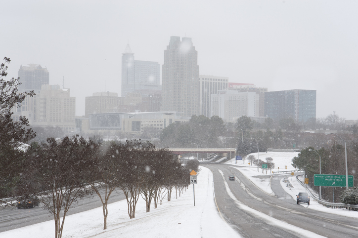 Winter driving in Raleigh, North Carolina