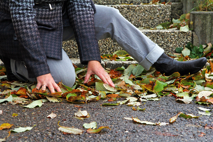 Wet and leaf-covered roadways and sidewalks can cause injuries.